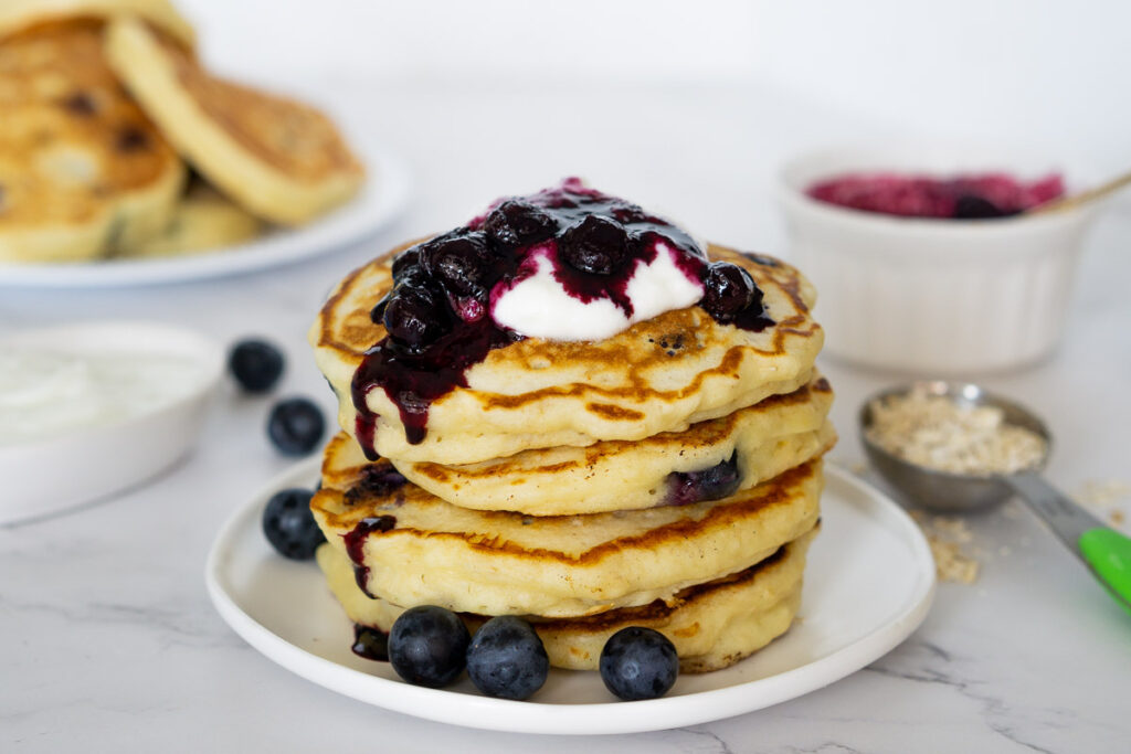 Fat Burning Recipe Blueberry Oat Pancakes with Maple Yogurt Health & Fitness